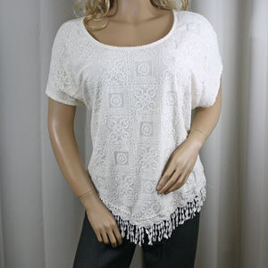 Fringe and Lace Front Cream Flowy Top